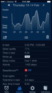 Nightly sleep cycle example