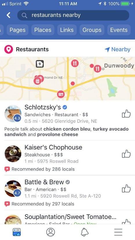 Facebook Restaurant Finder 1