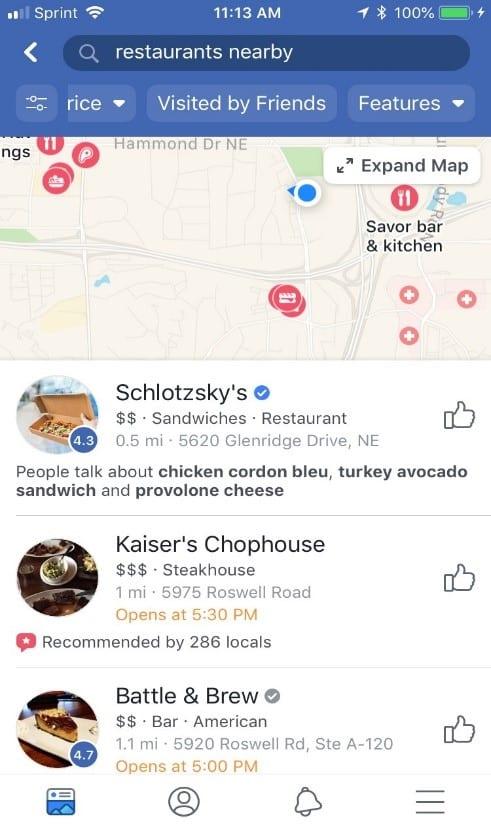 Facebook Restaurant Finder 2