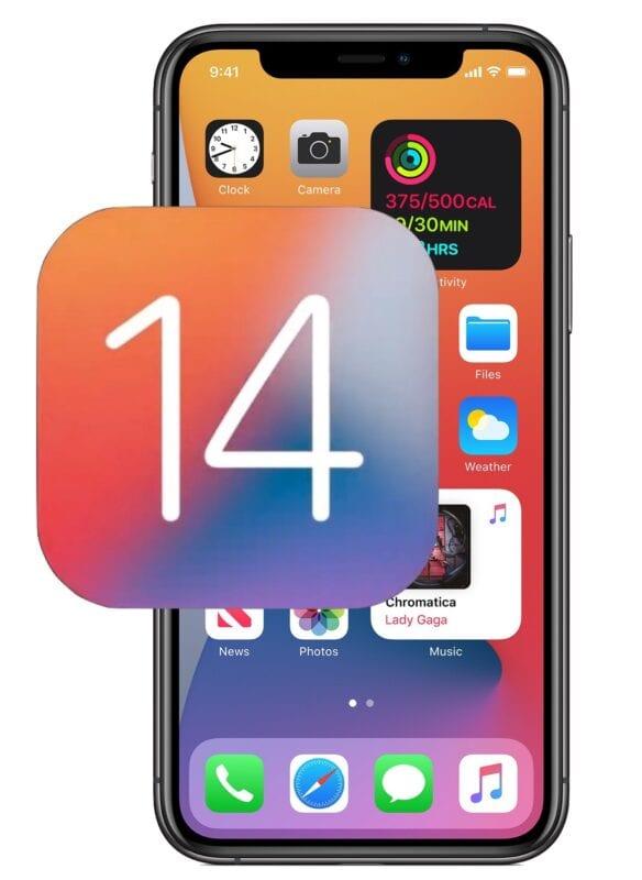 iPhone with iOS14 logo